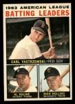 1964 Topps #8   -  Carl Yastrzemski / Al Kaline / Rich Rollins AL Batting Leaders Front Thumbnail