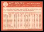 1964 Topps #43  Roy Sievers  Back Thumbnail