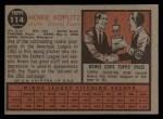 1962 Topps #114 GRN Howie Koplitz  Back Thumbnail