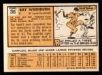 1963 Topps #206  Ray Washburn  Back Thumbnail