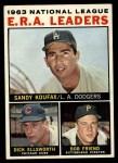 1964 Topps #1   -  Sandy Koufax / Bob Friend / Dick Ellsworth NL ERA Leaders Front Thumbnail