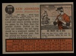 1962 Topps #278  Ken Johnson  Back Thumbnail