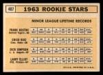 1963 Topps #407   -  Frank Kostro / Chico Ruiz / Larry Elliot / Dick Simpson Rookies   Back Thumbnail