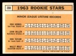 1963 Topps #208   -  Ron Herbel / John Miller / Wally Wolf / Ron Taylor Rookie Stars   Back Thumbnail