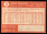 1964 Topps #16  John Boozer  Back Thumbnail