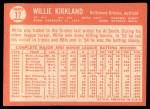 1964 Topps #17  Willie Kirkland  Back Thumbnail
