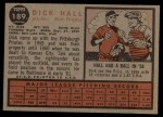 1962 Topps #189 GRN Dick Hall  Back Thumbnail