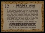1958 Topps TV Westerns #12   Deadly Aim  Back Thumbnail