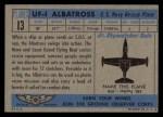 1957 Topps Planes #13 BLU  Uf-1 Albatross Back Thumbnail