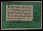 1956 Topps Davy Crockett #50 GRN  The Alamo   Back Thumbnail