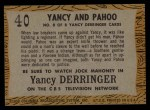 1958 Topps TV Westerns #40   Yancy and Pahoo  Back Thumbnail
