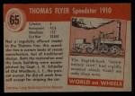 1953 Topps World on Wheels #65   Thomas Flyer Speedster 1910 Back Thumbnail