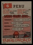 1956 Topps Flags of the World #6   Peru Back Thumbnail