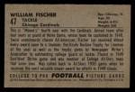 1952 Bowman Small #47  William Fischer  Back Thumbnail