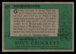 1956 Topps Davy Crockett #43 GRN  Double Crossed  Back Thumbnail