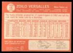 1964 Topps #15  Zoilo Versalles  Back Thumbnail