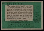 1956 Topps Davy Crockett #59 GRN  Rough Ride  Back Thumbnail