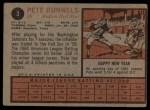 1962 Topps #3  Pete Runnels  Back Thumbnail