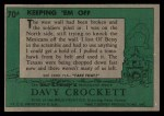 1956 Topps Davy Crockett #70 GRN  Keeping 'Em Off  Back Thumbnail