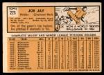1963 Topps #225  Joey Jay  Back Thumbnail