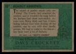 1956 Topps Davy Crockett #10 GRN  Deadly Arrows  Back Thumbnail