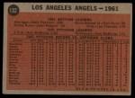 1962 Topps #132 NOR  Angels Team Back Thumbnail