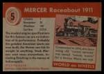 1954 Topps World on Wheels #5   Mercer Raceabout 1911 Back Thumbnail