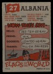 1956 Topps Flags of the World #27   Albania Back Thumbnail