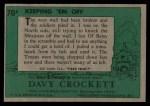 1956 Topps Davy Crockett #70 GRN  Keeping 'Em Off  Back Thumbnail