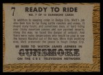 1958 Topps TV Westerns #7   Ready to Ride  Back Thumbnail