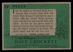 1956 Topps Davy Crockett #33 GRN  Peace  Back Thumbnail