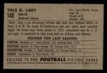 1952 Bowman Small #140  Yale Lary  Back Thumbnail