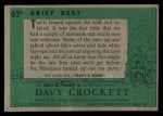 1956 Topps Davy Crockett #62 GRN  Brief Rest  Back Thumbnail