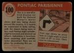 1954 Topps World on Wheels #100   Pontiac Parisienne Back Thumbnail