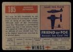 1952 Topps Wings #185   Douglas Skyrocket Back Thumbnail