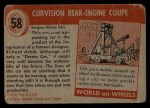 1954 Topps World on Wheels #58   Curvision Rear Engine Coupe Back Thumbnail