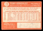 1964 Topps #379  Tony Gonzalez  Back Thumbnail
