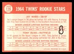 1964 Topps #116   -  Tony Oliva / Jay Ward Twins Rookies Back Thumbnail