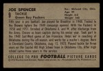 1952 Bowman Small #9  Joe Spencer  Back Thumbnail