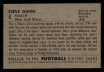 1952 Bowman Small #4  Steve Owen  Back Thumbnail