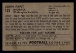 1952 Bowman Small #143  Johnny Papit  Back Thumbnail