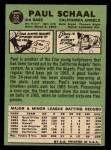 1967 Topps #58 xGRN Paul Schaal  Back Thumbnail