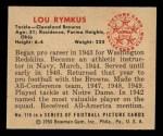 1950 Bowman #116  Lou Rymkus  Back Thumbnail