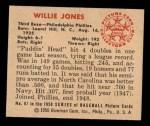 1950 Bowman #67  Willie Jones  Back Thumbnail