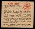 1950 Bowman #60  Clyde Scott  Back Thumbnail