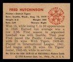 1950 Bowman #151  Fred Hutchinson  Back Thumbnail