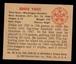 1950 Bowman #162  Eddie Yost  Back Thumbnail