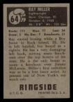 1951 Topps Ringside #64  Ray Miller  Back Thumbnail
