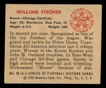 1950 Bowman #58  William Fischer  Back Thumbnail