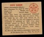 1950 Bowman #140  Pete Suder  Back Thumbnail
